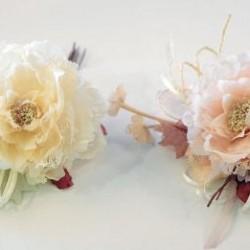 Τριαντάφυλλο με κορδελάκια,πέρλα και δαντέλα 20cm x 15cm