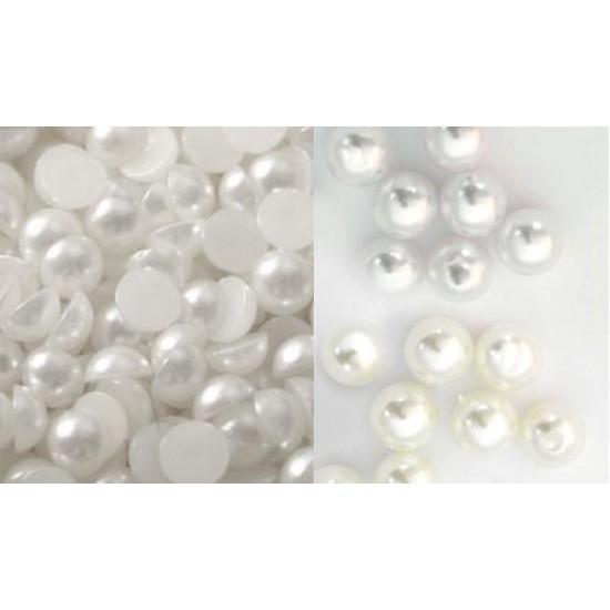 Πέρλες μισές λευκές 8mm -100 τεμαχίων