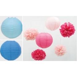 Σετ παρτυ χάρτινα λουλούδια και φαναράκια ροζ