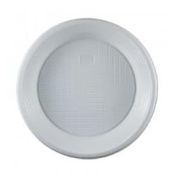 Πιάτο πλαστικό λευκό μιας χρήσης 23 cm