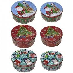 Κουτί Χριστουγέννων μεταλλικό στρογγυλό 2 τμχ (τυχαία επιλογή σχεδίου)