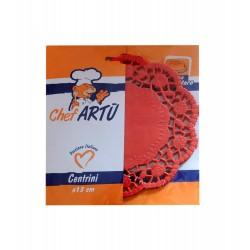 Δαντέλα χάρτινη στρογγυλή 13 cm - Χρώμα κόκκινο 24 τμχ