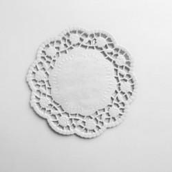 Δαντέλα χάρτινη στρογγυλή 14 cm - Χρώμα λευκό 12τμχ