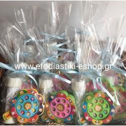 Μικροδωράκι σαπουνόφουσκα πουά γαλάζια + ρουλέτα αριθμών(τυχαία επιλογή χρώματος ρουλέτας)