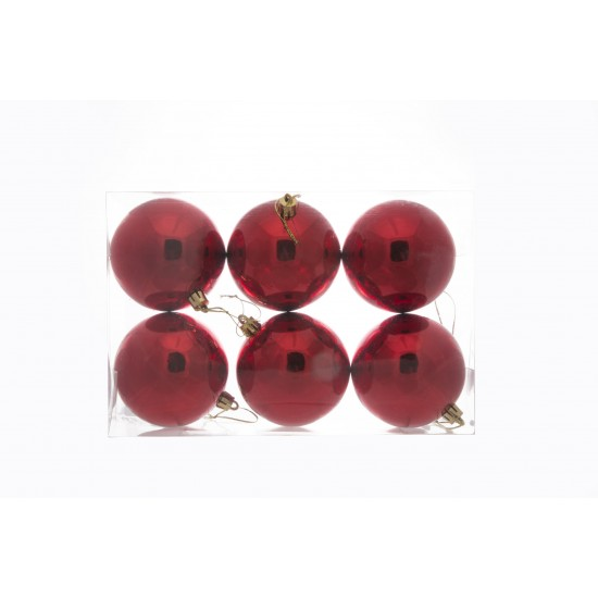 Xριστουγεννιάτικες μπάλες 6 τμχ - κόκκινο χρώμα 8cm