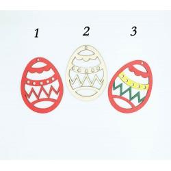Ξύλινο διακοσμητικό αυγό 7.5x10cm σχέδιο ζικ ζακ