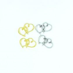 Mεταλλική διπλή καρδιά χρυσό -ασημί 3x2.5cm