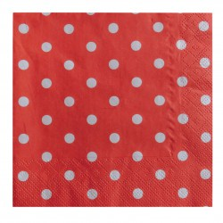 Χαρτοπετσέτα party 33x33 cm- Πασχαλίτσα κόκκινο πουά