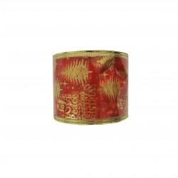 Κορδέλα χριστουγενιάτικη 6,3cm x 5,5m με στάμπα - Κοκκινη