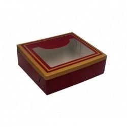Κουτί χάρτινο με παράθυρο μπορντό χρώμα 15x13x4 cm
