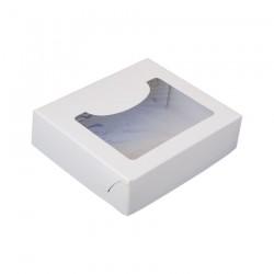 Κουτί μνημοσύνου χάρτινο με παράθυρο σε λευκό χρώμα 15x13x4 cm