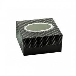 Κουτί χάρτινο με παράθυρο μαύρο πουά 16x12.5x8cm