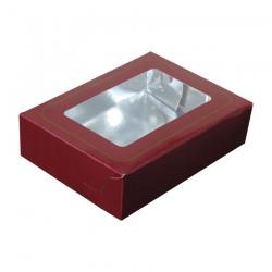 Κουτί μνημοσύνου χάρτινο με παράθυρο σε μπορντό χρώμα 17x12x4.5 cm