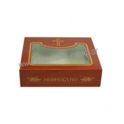 Κουτί μνημοσύνου χάρτινο τυπωμένο με παράθυρο  μπορντό 15x13x4 cm