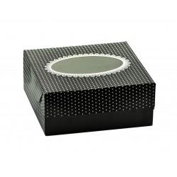 Κουτί χάρτινο με παράθυρο μαύρο πουά  19x19x8cm