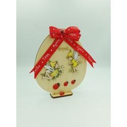 Πασχαλινο δώρο ξύλινο αυγό με βάση - Νεράιδες