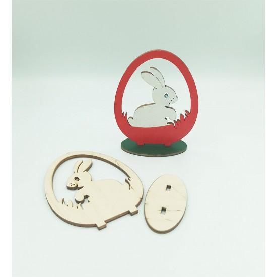 Ξύλινο διακοσμητικό λαγουδάκι σε αυγό 7x9.5cm