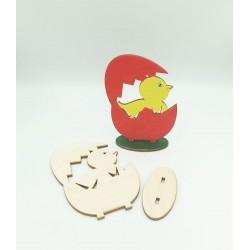 Ξύλινο διακοσμητικό κοτοπουλάκι σε αυγό 7x10cm