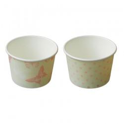 Μπωλ χάρτινο  για παγωτό 200ml - σετ  2 σχεδίων πουά και πεταλούδες