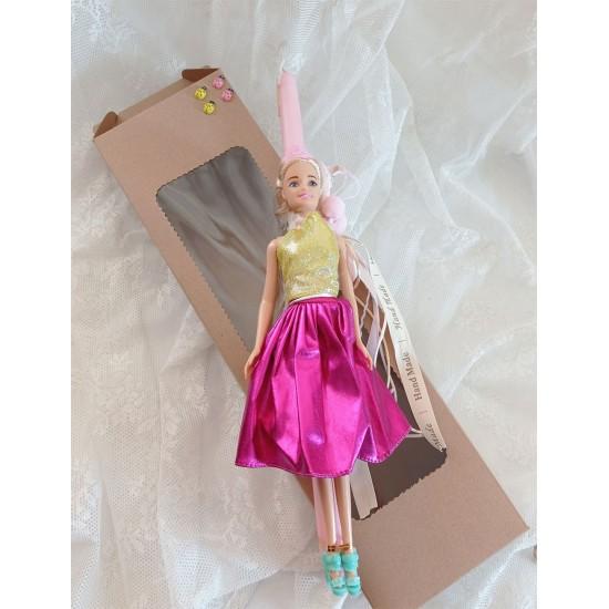 Πασχαλινή λαμπάδα ροζ με κούκλα