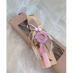 Πασχαλινή λαμπάδα ροζ με ξύλινο μεγεθυντικό φακό
