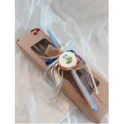 Πασχαλινή λαμπάδα γαλάζια με ξύλινο τυμπανάκι