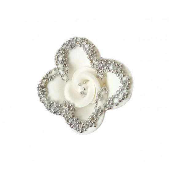 Λουλούδι λευκό με ασήμι διακοσμητικό για δίσκο μνημοσύνου 6x6x3.5 cm