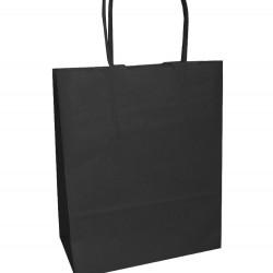 Τσάντα - σακούλα χάρτινη μαύρη 32x12x41 εκ.- στριφτή λαβή