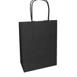 Τσάντα - σακούλα χάρτινη μαύρη 18x8x24 εκ.- στριφτή λαβή