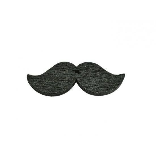 Ξύλινο μουστάκι μικρό μαύρο 3x1cm