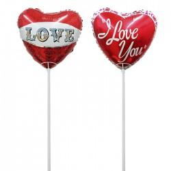 Μπαλόνι καρδιά με καλαμάκι 45cm