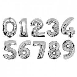 Μπαλόνια γενεθλίων αριθμοί 0-9 75x50cm ασημί