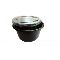 Σκεύος μικροκυμάτων στρογγυλό 500ml μαύρο με διάφανο καπάκι