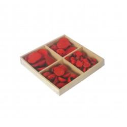 Ξύλινες διακοσμητικές πασχαλίτσες 77τμχ- κόκκινο χρώμα