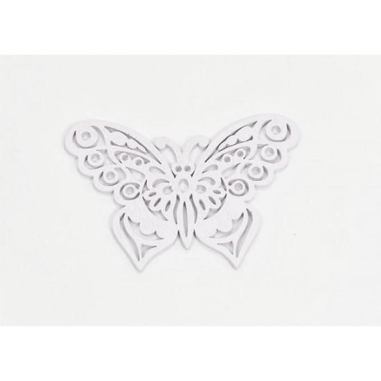 Ξύλινη πεταλούδα άσπρη 8.7x6cm