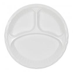Πιάτο πλαστικό λευκό 3 χωρισμάτων 22 cm