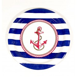 Πιάτο Party 23cm - Σχέδιο Ναυτικό 8τμχ