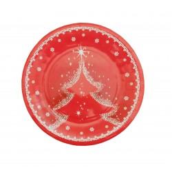 Πιάτο χάρτινο 18 cm - Σχέδιο χιονισμένο δέντρο