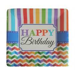Πιάτο Party φαγητού 26 cm τετράγωνο - Happy Birthday 8τμχ