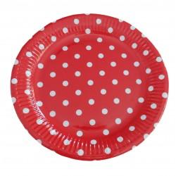 Πιάτο party 23cm -Πασχαλίτσα κόκκινο πουά
