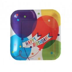 Πιάτο party τετράγωνο 23εκ. μπαλόνια 18τμχ