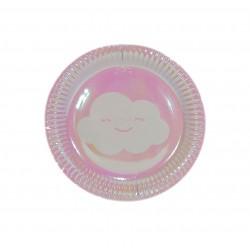 Πιάτο party 17,8 cm - συννεφάκι ροζ