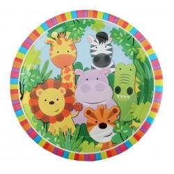 Πιάτο Party 23 cm - Σχέδιο Ζώα Ζούγκλας