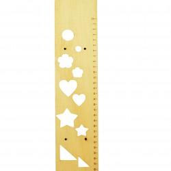 Ξύλινη πλάτη για λαμπάδα 7.5x35cm- στένσιλ & χάρακας