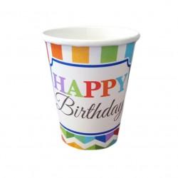 Ποτήρι Party χάρτινο 266ml  Happy Birthday 8τμχ