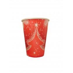 Ποτήρι χάρτινο 200ml - Σχέδιο χιονισμένο δέντρο 8 τμχ