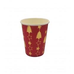 Ποτήρι χάρτινο 200ml - Σχέδιο κόκκινο χρυσό δέντρο