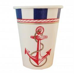 Ποτήρι Party χάρτινο 266ml - Σχέδιο Ναυτικό