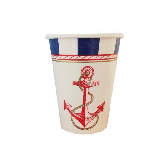Ποτήρι Party χάρτινο 266ml - Σχέδιο Ναυτικό 8τμχ