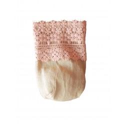 Πουγκί λινάτσα με ροζ δαντελα 13x18cm
